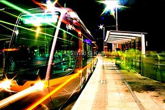 All Aboard The Night Tram - 10,000 views (Dave G Kelly) Tags: longexposure ireland urban dublin motion station night train interestingness movement transport interestingness1 tram exhibition explore nighttime publictransport habitat frontpage luas numberone irlandia interesting1 i500 superaplus aplusphoto superhearts davegkelly