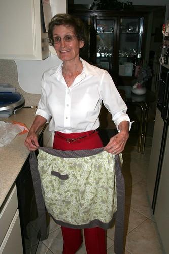 Working the birthday apron