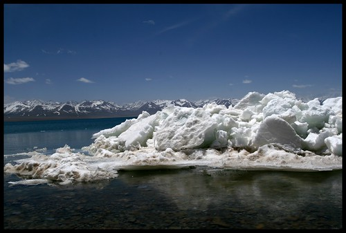 Ice at Namtso Lake. Tibet.