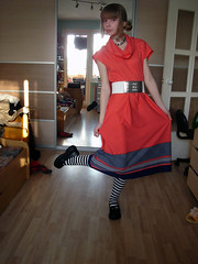 Vintage dress (snail.skin) Tags: old red girl fashion vintage dress stripes 14 style teen reddress tows polkadotdress 70sdress memoryofadress