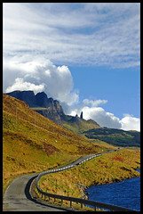 Storr 5 (tanera) Tags: road skye clouds contrast bravo bluesky cliffs barriers serpentine anywhere trotternish storr crashbarriers wwwtaneracouk httptaneracouk