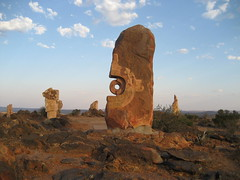080 the Living Desert (Parkaboy) Tags: blue summer sky sculpture art rock stone clouds circle bush rocks dusk stones horizon australia newsouthwales outback remote aboriginal shape brokenhill livingdesert barrierranges sculpturesymposium bajoelsoljaguar sundownhill underthejaguarsun