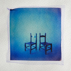 Two chairs (Cea tecea) Tags: longexposure 2 two closeup polaroid chairs pinhole blueish emulsionlift twochairsisbetterthanone