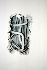 worms (S.M.H.M.) Tags: white wall construction mess hole cable wires electricity torn worm smp monier stephanemonierphotography