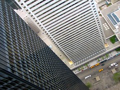Buildings at an angle (viviloob) Tags: street city urban toronto ontario canada building architecture modern skyscraper skyscrapers perspective style down structure international miesvanderrohe bmo tall internationalstyle birdseye rohe vanderrohe tdcentre modernmovement torontodominioncentre ludwigmiesvanderrohe torontodominion utataview