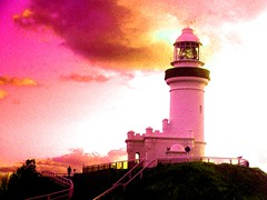 Cape Byron Ligthouse @ Sunrise (enhanced) (Monique Barber) Tags: pink sunset sky lighthouse clouds sunrise australia byron byronbay capebyronlighthouse pinkforthecure