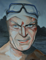 """DIVER"" (josko_art) Tags: portrait face painting artcontemporaryart"