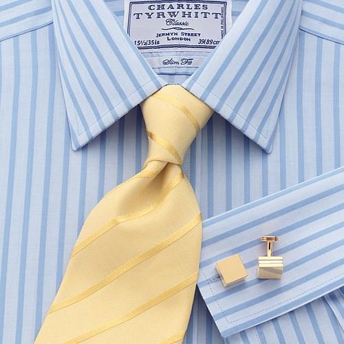 Danton Blue Poplin Stripe Non-iron Slim Fit Shirt
