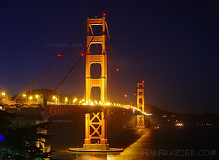 Golden Gate Bridge (Jim Frazier) Tags: sanfrancisco california road trip bridge building history 2004 water metal architecture night landscape lights golden amber scenery gate technology nightshot suspension structures bridges beautifullight engineering wideangle