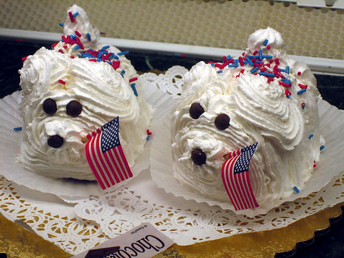 Patriotic frosting doggies