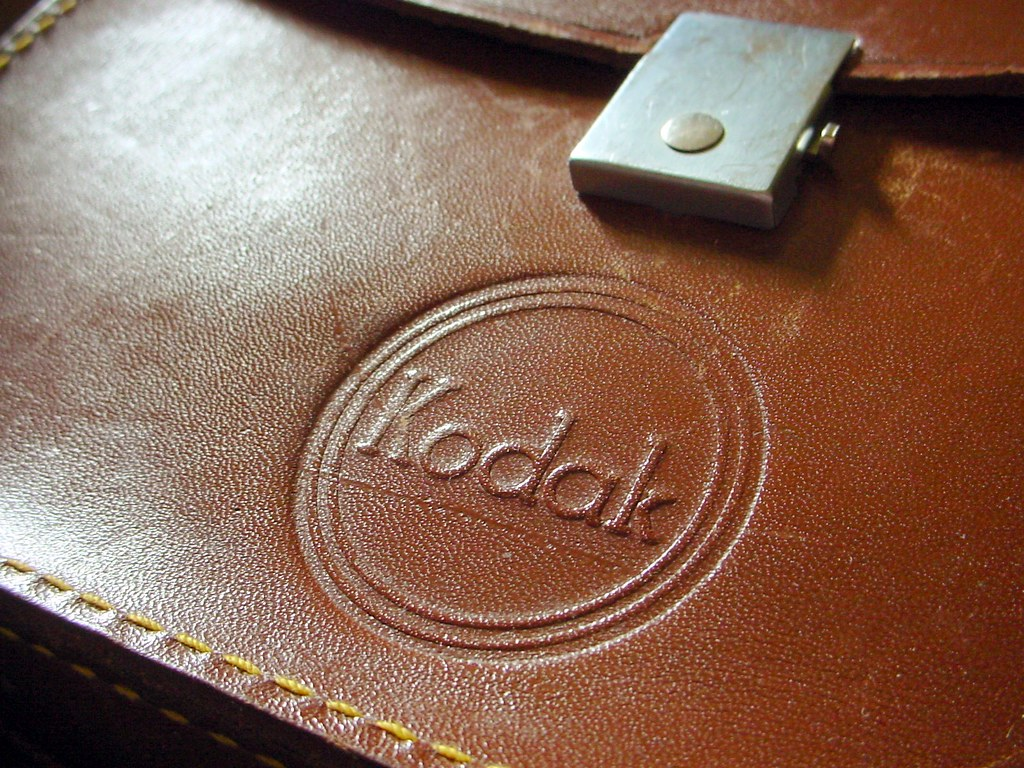 old leather Kodak camera case