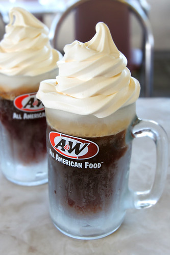 root beer floats :-). creamy vanilla soft serve meets ice cold A&W