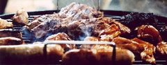 Meat (Lexington Bosh) Tags: chicken wings crossprocessed smoke awesome barbie tasty bbq meat burgers steak barbecue ribs sausages nikonn80 kodakelitechrome100 burntstuff