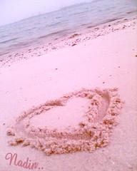 LOVE (Awdaj) Tags: love romance heart sea beach kuwait kwt q8 sand