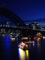 le port par nuit #7 || reflections (macca) Tags: sydney harbour city australia night lights bridge water reflection nsw pc2000