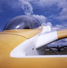 2 (artandscience) Tags: seattle blue sky reflection 6x6 film yellow clouds rolleiflex airplane experimental bubble canard provia100f 120challenge arlingtonairshow