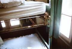Bed in Johnstone (jbhalper) Tags: 2003 camp brown green window bed curtain pad rusty sheets pillow springs mattress summercamp lgsa johnstone lakegeneva