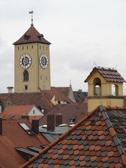 Skyline (Skinnyde) Tags: skinnyde spire germany deutschland regensburg tower clock roof skyline spires