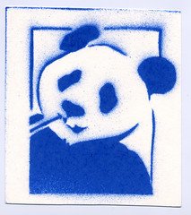 blue panda stencil (BIGAWK) Tags: panda zoo animal stencil art create design graphic