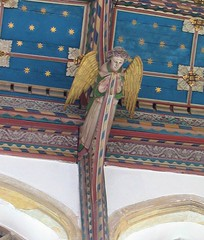 suffolk angel (estherase) Tags: blue church angel gold suffolk findleastinteresting july ceiling placesofworship southwold canonixus400 placeofworship emssimp