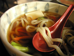 udon noodles, with vegetables and tofu