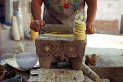 making empanadas (pixietart) Tags: oaxaca mexico teotetlin mortar empanada outside kitchen nycpb stone oldschool film