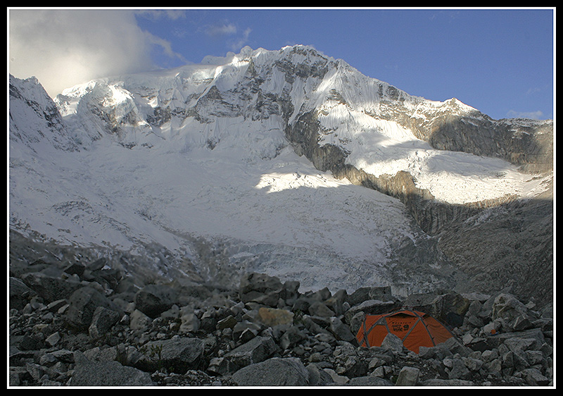 Looking across Llaca moraine camp to Ranrapalca (6162m)