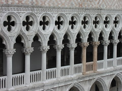 Two columns standing out of the Doge's Palace facade