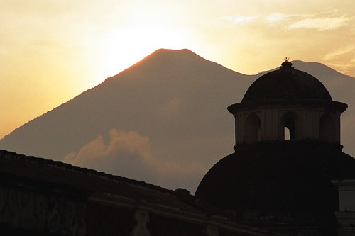 Sunset over volcanoes Acatenango and Fuego, Antigua Guatemala
