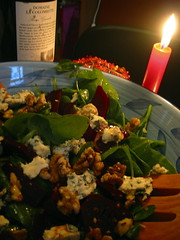 Salad by candlelight