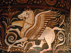Roman Volute Krater 4th century BCE detail of Pegasus (mharrsch) Tags: california ceramic losangeles italian ancient roman pegasus vessel battle vase classical combat mythology krater mythylogical losangelesmuseumofart mharrsch