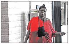 Backslidden, Just Around the Corner from Me (Shavar Ross) Tags: 2005 california street red people woman man face lady canon sadness losangeles faces phonebooth cigarette candid homeless poor help purse africanamerican oldwoman hungry shavarcom hobo needy blackwoman hardtimes recession homelesspeople shavarrosscom