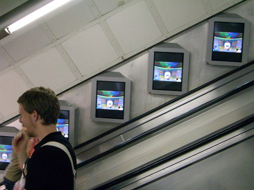 Digital screens on the London Underground