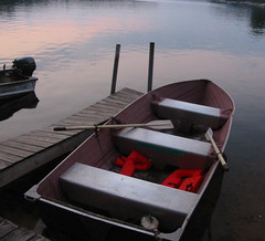 row boat at sundown - by independentman
