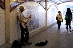 guitarist in tunnel (* tathei *) Tags: england greatbritian unitedkingdom uk london city westminster travel scene canon 350d gutarist musician guitar music performer tunnel people eos dslr