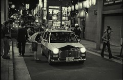 wimpy cop car (Jim O'Connell) Tags: people blackandwhite bw film japan darkroom tokyo mine availablelight nikonf kagurazaka mmdc