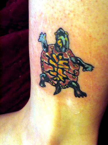 Foot Tattoo, Ankle Tattoo, Full Color Tattoo, Turtle Tattoo, Lower Back Tattoo,
