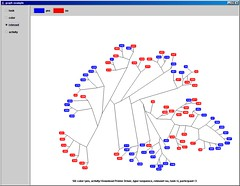 Hierarchical clustering of sequences by string similarity (relevant variable) (ln) Tags: programming java application screenshot prefuse infoviz red blue graph cluster eyepatterns tree hierachy nerd math statistics