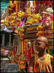 (shadowplay) Tags: red orange yellow thailand concentration shrine bangkok buddhism seriousness lotusflower