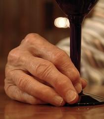 Drinking Wine (ricko) Tags: wineglass hand fingers seniorcitizen wine saveme2 deleteme10