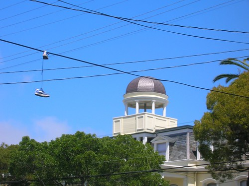 shoes hanged in Mission, sf