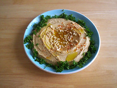 Hummus salad (Made in Finland) (Gloel) Tags: hummus salad mediterranian chickpeas food delicious foodgeometry circle finland israel topv111