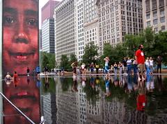 Face (shutterBRI) Tags: 2005 city summer chicago reflection water fountain canon reflections photography photo illinois downtown saveme4 deleteme10 michiganave powershot summertime millenniumpark a80 crownfountain shimmer jaumeplensa shutterbri brianutesch brianuteschphotography