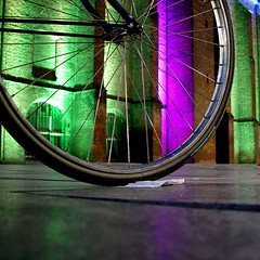 (josef.stuefer) Tags: pink green church netherlands colors bike bicycle night nijmegen illumination explore part benelux josefstuefer colourartaward excellentafterdark exellentafterdark