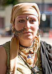 Culture Shock (Shavar Ross) Tags: california summer portrait people woman brown heritage face fashion scarf pose photo losangeles eyes women faces candid august2005 culture queen ornament hollywood ritual foreign gypsy shavarcom foreigner shavarrosscom