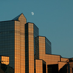 August Moonrise (D.James | Darren J. Ryan) Tags: atlanta architectural detail window reflection sunset sun dusk twilight blue orange gold black moon moonrise august financial center georgia usa catchycolors color colorful urban ga400 driveby traffic architecture interesting over under freeway buckhead district mirror glass angle angles geometric djames quality stock photo darrenryan 25 50 darren ryan d james photography photographer technorati blog j copyright allrightsreserved explore explored interestingness wwwdarrenryanphotographycom wwwdarrenjryancom