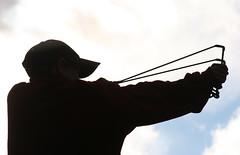 Slingshot (davebrosha) Tags: 2005 camping boy jared people male silhouette youth action documentary aim masters slingshot preludelake prosperouslake