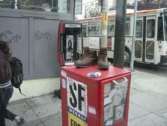 Shoes (dogwelder) Tags: 2005 sanfrancisco california street newspaper shoes august zurbulon6 abandonedshoes streetshoes sidewalkshoes zurbulon gatturphy