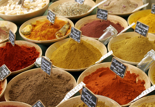 colourful spices in a french market