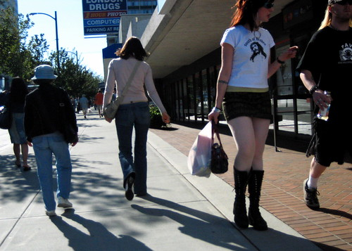 vancouver fromthehip broadway voyeur street people hipster miniskirt boots londondrugs